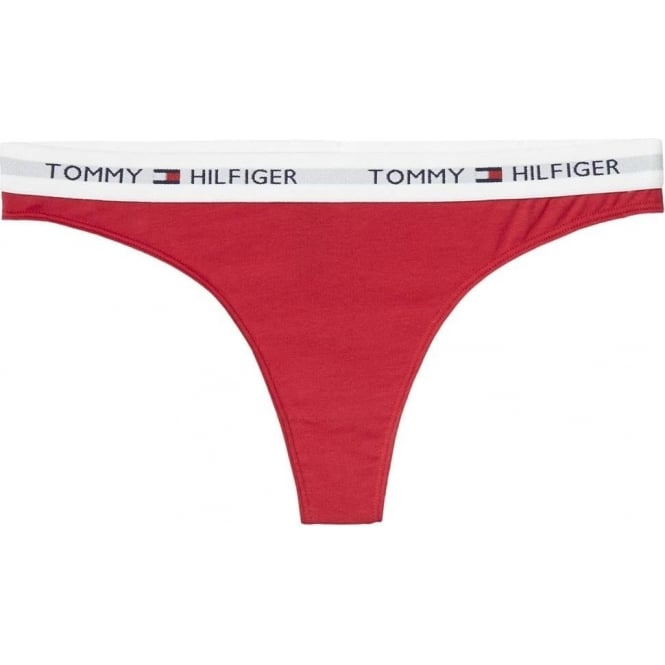 Tommy Hilfiger Women Iconic Cotton Thong, Crimson Red