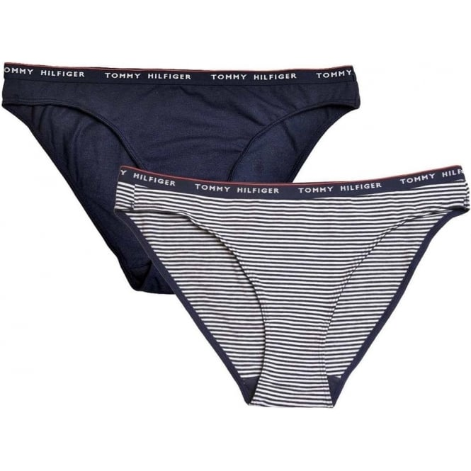 Tommy Hilfiger Women Lara 2-Pack Bikini, Navy/Stripe