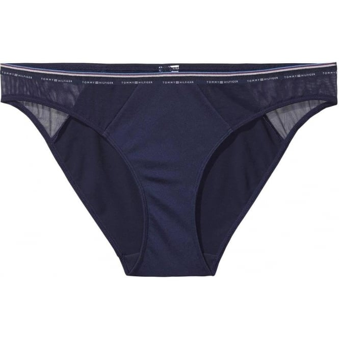 Tommy Hilfiger Women Micro Stripe Bikini Brief, Navy