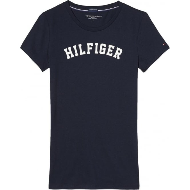 Tommy Hilfiger Women Organic Cotton Short Sleeved Crew Neck T-Shirt, Navy