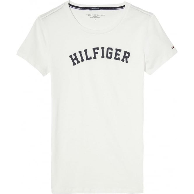 Tommy Hilfiger Women Organic Cotton Short Sleeved Crew Neck T-Shirt, White