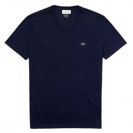 V-Neck Pima Cotton Jersey T-shirt, Navy