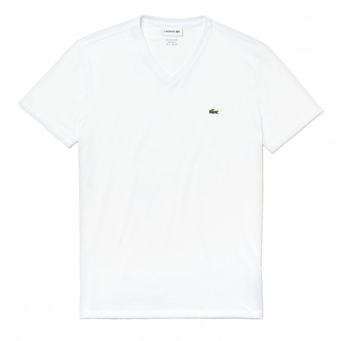 Lacoste V-Neck Pima Cotton Jersey T-shirt, White