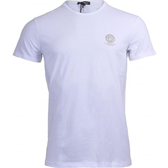 Versace Iconic Stretch Cotton Crew Neck T-Shirt, White