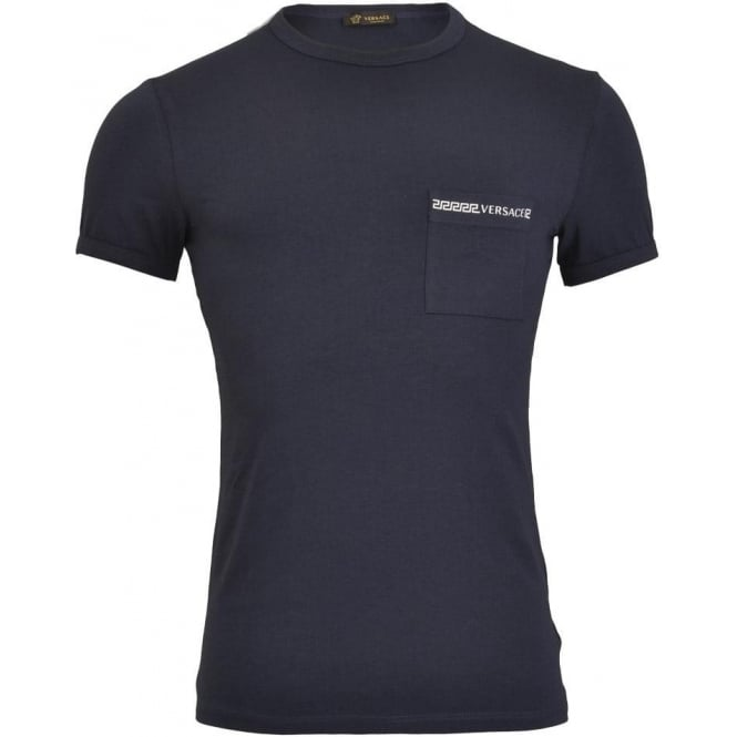 Versace Iconic Stretch Cotton Crew Neck T-Shirt, Navy