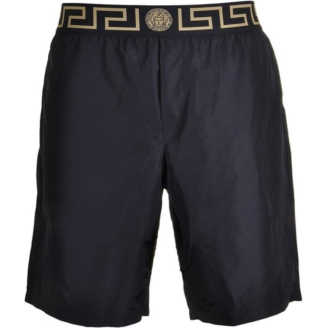 Versace Iconic Greca Medusa Swim Shorts, Black