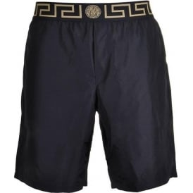 Iconic Greca Medusa Swim Shorts, Black