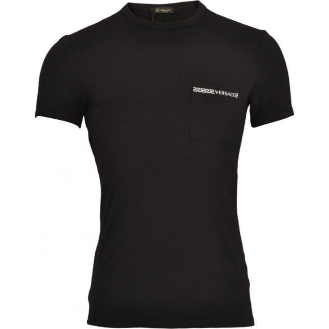 Versace Iconic Stretch Cotton Crew Neck T-Shirt, Black