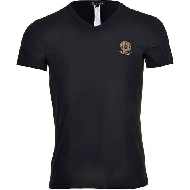 Versace Iconic Stretch Cotton V-Neck T-Shirt, Black