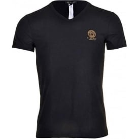 Iconic Stretch Cotton V-Neck T-Shirt, Black