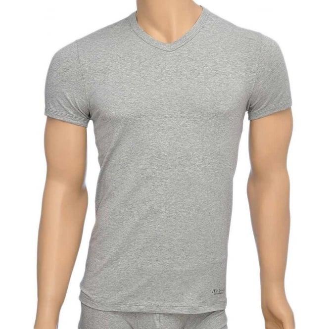 Versace Titan Stretch Cotton V-Neck T-shirt, Grey