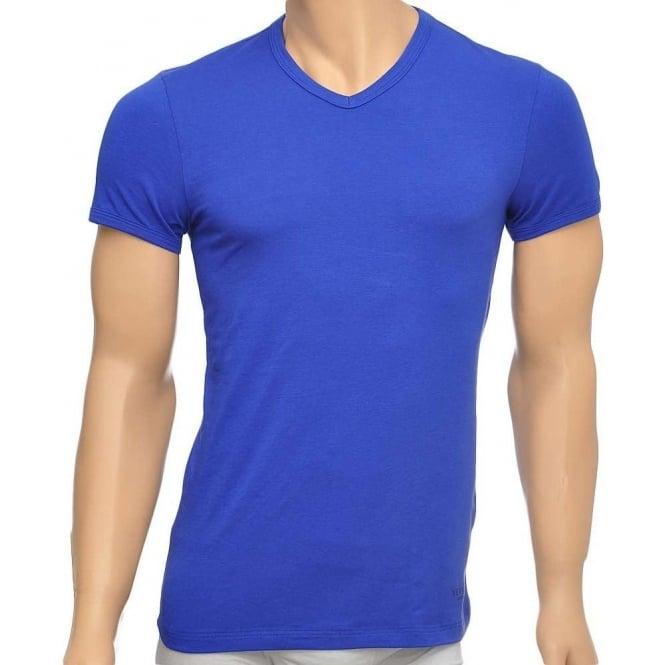 Versace Titan Stretch Cotton V-Neck T-shirt, Royal Blue