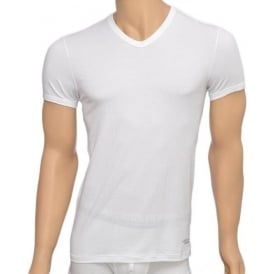 Titan Stretch Cotton V-Neck T-shirt, White