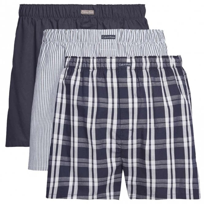 Calvin Klein Classic Fit Woven Boxer 3-Pack, Tide/Morgan Plaid/Montague Stripe